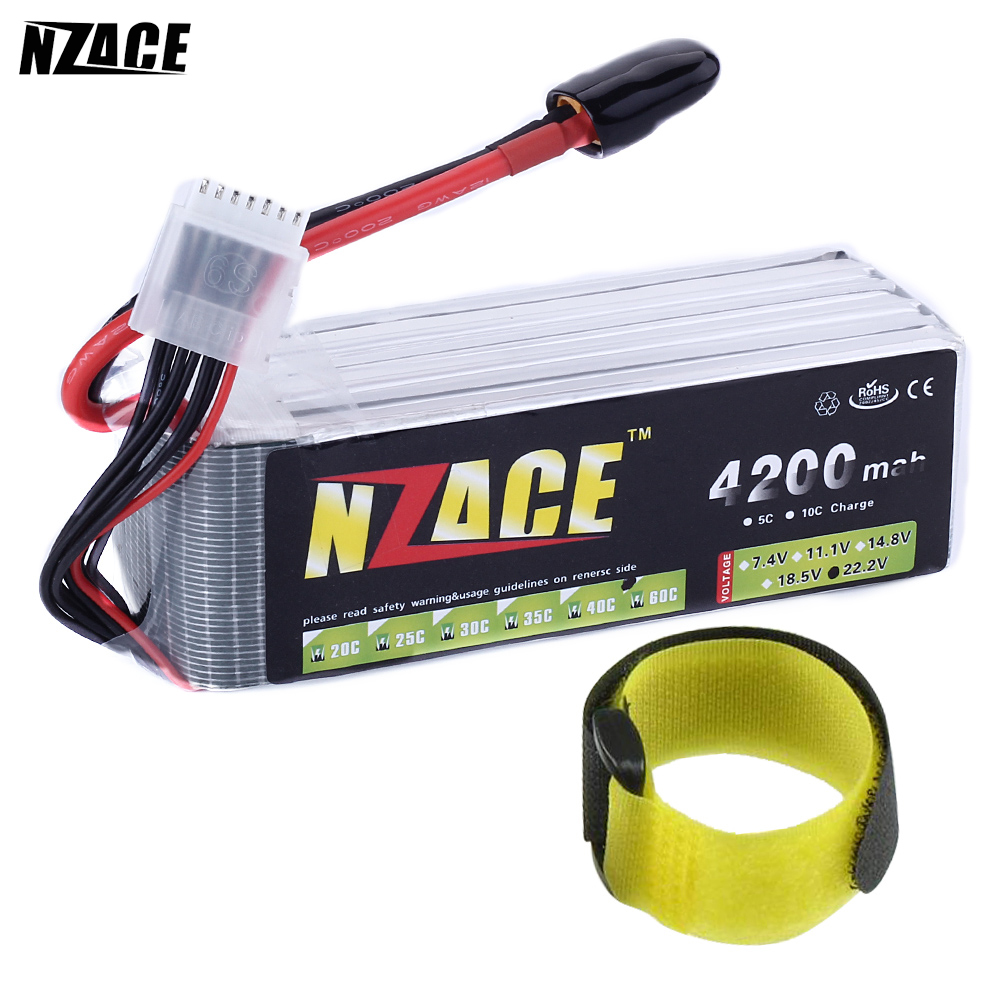 все цены на NZACE POWER 6S lipo battery 22.2v 4200mAh 60C rc helicopter rc car rc boat quadcopter remote control toys Li-Polymer battey онлайн