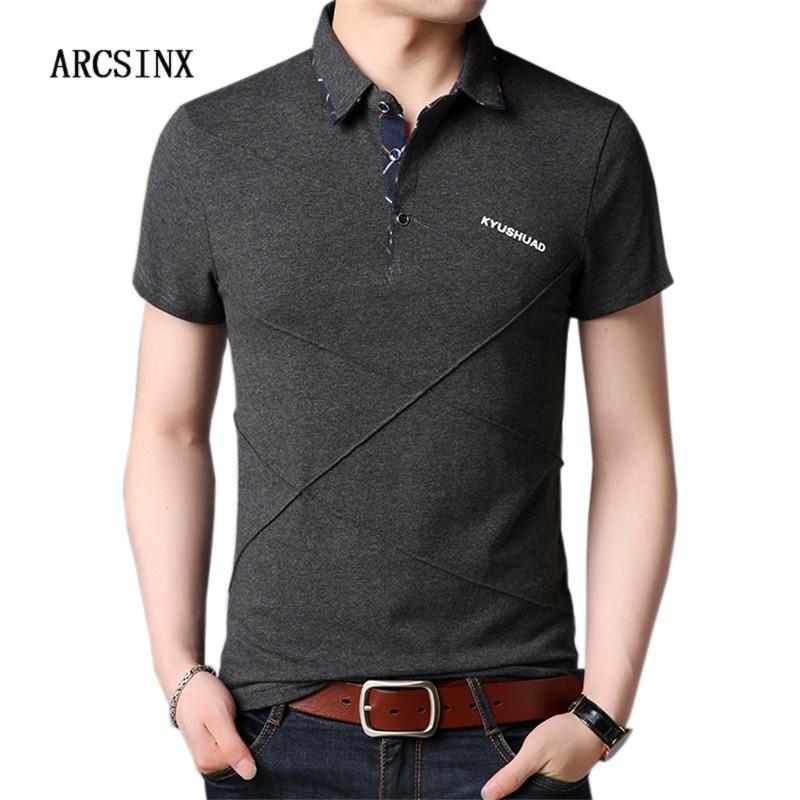 ARCSINX Short Sleeve   Polo   Shirt Men Plus Size 5XL 4XL 3XL Summer Cotton Grey Solid Color Mens   Polo   Shirts Slim Fit Man   Polos