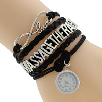 Infinite Love Charm Handmade Customized Message Therapy Clock Charm Bracelet Drop Ship