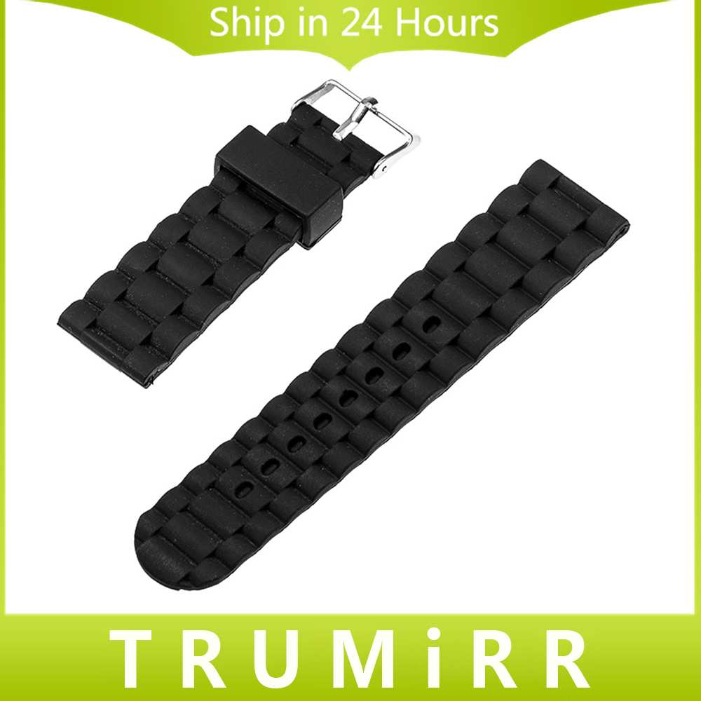 22mm 24mm Universal Silicone Rubber Watchband Replacement Watch Band Bracelet Strap with Stainless Steel Buckle Black 24mm silicone rubber watchband for sony smartwatch 2 sw2 replacement watch band strap stainless steel buckle bracelet with lock