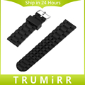 22mm 24mm Universal Silicone Rubber Watchband Replacement Watch Band Bracelet Strap with Stainless Steel Buckle Black