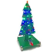 3D Color Christmas Tree LED Flash Light DIY Kit Colorful LED Flash Cir