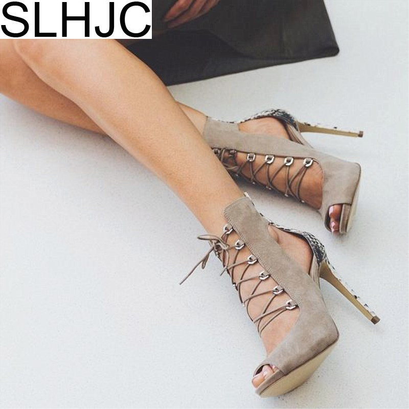 SLHJC 2018 Spring Summer Pumps Women Stiletto Heel Open Toe Lace Sandals Sexy Lady Club Shoes High Heel Back Zip 12 cm Heel summer hot black mesh patchwork women open toe sandals ankle lace up ladies gladiator high heel zipper back dress shoes stiletto