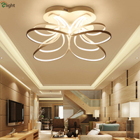 Post Modern Unique Curved Aluminium Remote Control Dimmable Led Ceiling Chandelier Embeded Acrylic Mask Led Lamp