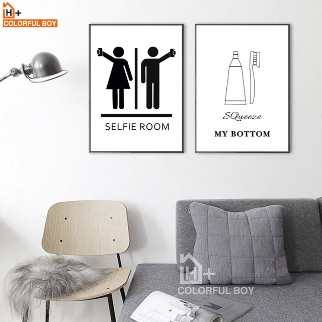 Cartoon Boy Girl Toilet Room Wall Art Canvas Painting Nordic Posters ...