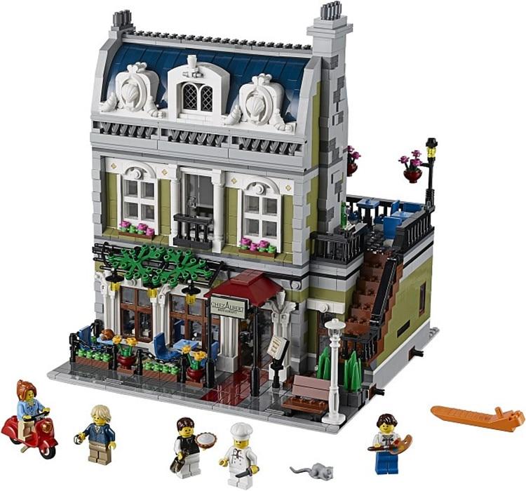 ФОТО 2418PCS 30007\15010 Creator Expert City Street Parisian Restaurant 10243 Model Building Kits Block Toy Compatible with lego