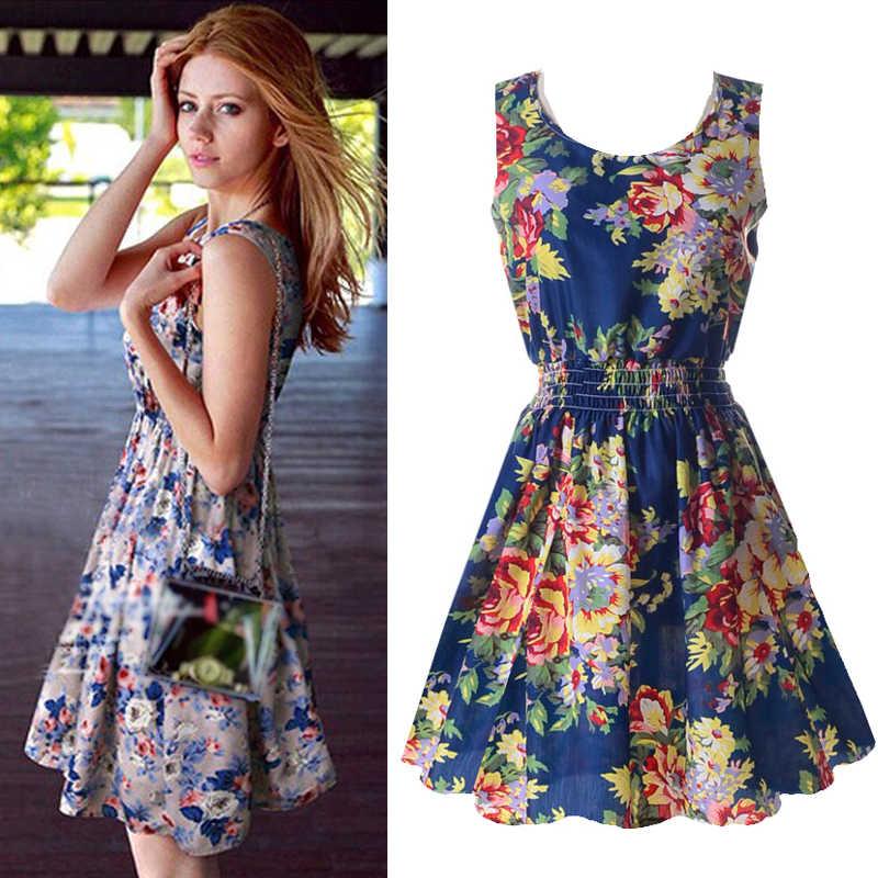 New Summer Women Vestidos Tank Chiffon Beach Sleeveless Dresses Floral Vestidoes M-XXL 25 Colors Elastic Waist A-line Dress