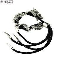 Handmade Thailand 925 Siilver Dragon Bracelet Real Leather Bracelet Vintage Sterling Silver Man Bracelet