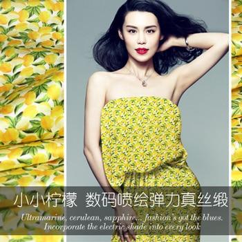 Lemon digital inkjet silk stretch satin fabric wrinkle-resistant good breathable dress silk fabric wholesale silk cloth