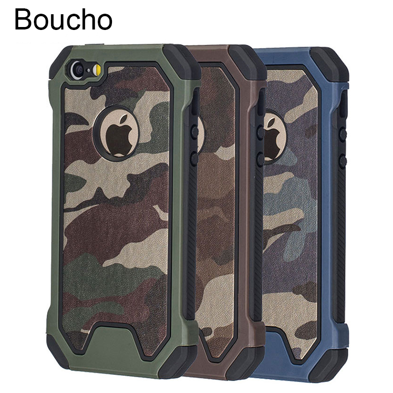 Boucho Army Military Camouflage Armor Shockproof Phone Case For iPhone XS Max XR 5 5S SE 6 6S 7 8 Plus X Dual Layer TPU Cover(China)