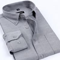 Nieuwe Aankomst Oxford mannen Merk Overhemden Mannen Strijkvrij Effen Kleur Formele Overhemd Klassieke Stijl Kleding voor Mannen