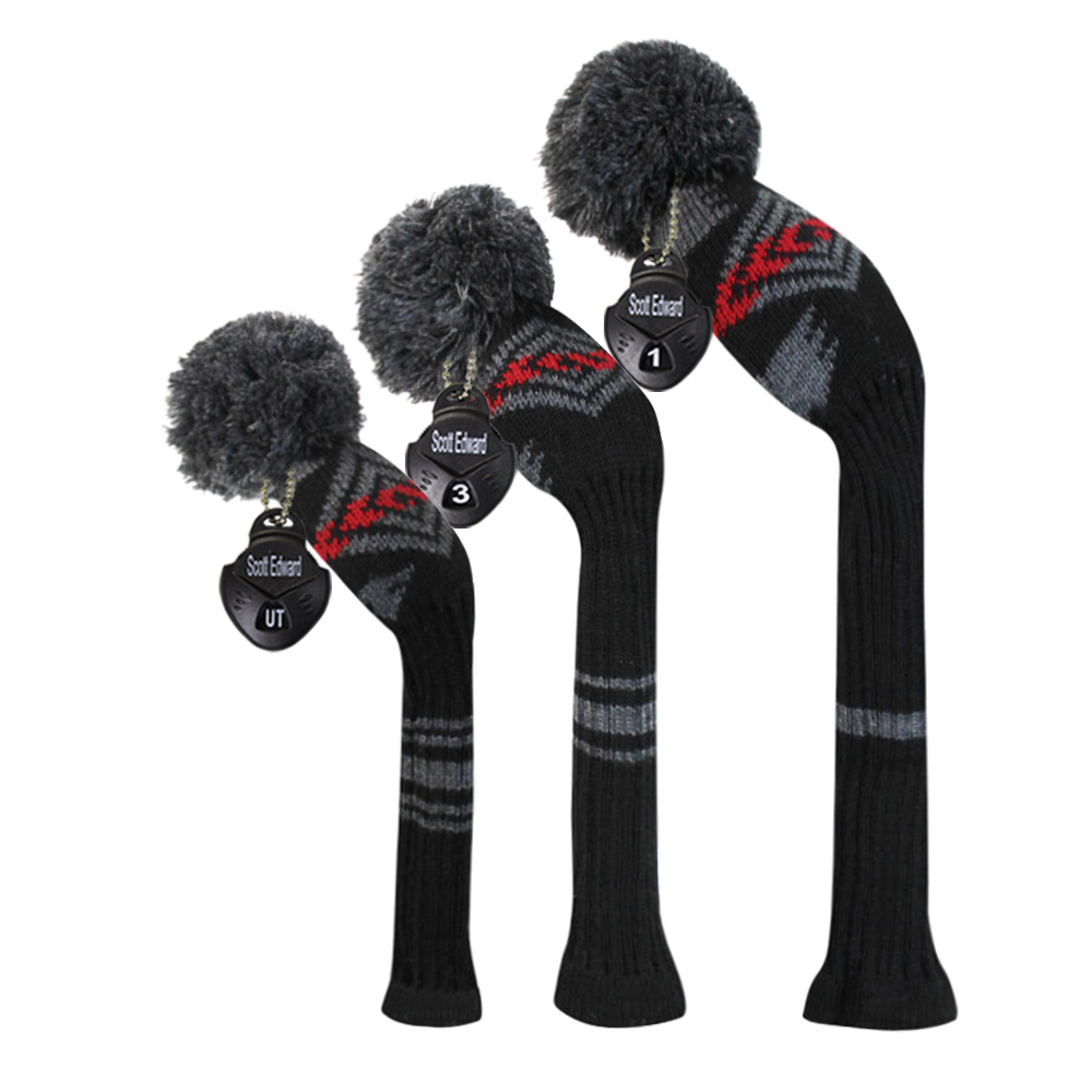 Black Red Grey Color Abstract Pattern Knit Golf Club Head Cover, Set of 3 for Driver Wood (460cc), Fairway,Hybrid