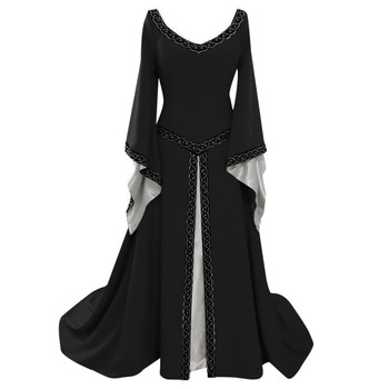 Women Sexy Flare Sleeve Medieval Dress Black Vintage Style Gothic Dress Floor Length Cosplay Dresses Retro Long Renaissance 04 1