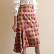 6364f5405 Spring Autumn women Suede irregular skirt high waist package hip plaid skirt