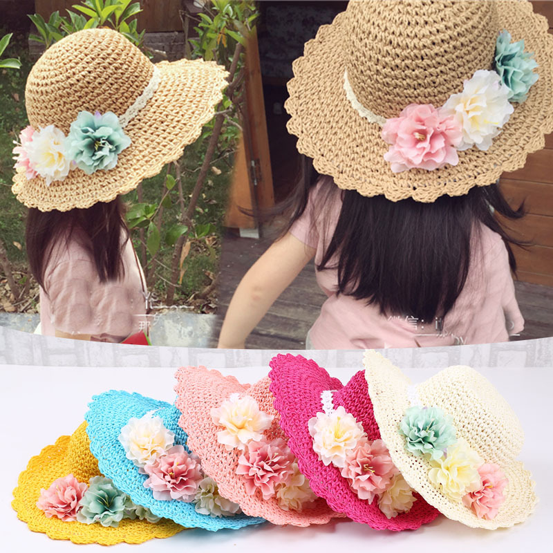 2018 Fashion Summer Style Colorful Flowers Baby Girls Wide Large Brim Floppy  Beach Hat Sun Straw Hat Cap 9 Colors-in Hats   Caps from Mother   Kids on  ... f47ba550c38