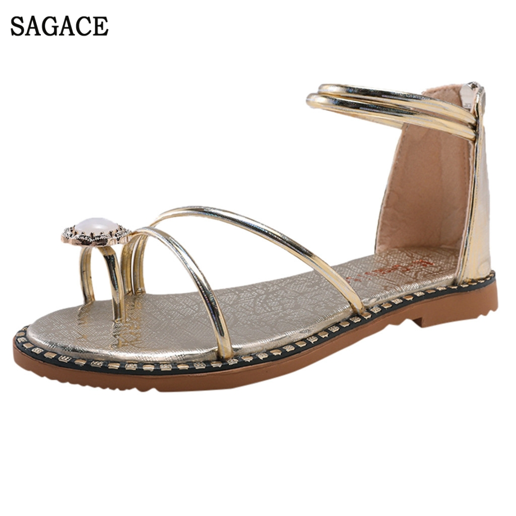 SAGACE Womens Fashion Casual Sexy High Quality Outsid Ladies Shoes Roma Open Toe Crystal Flat Sandals Zipper Beach ShoesSAGACE Womens Fashion Casual Sexy High Quality Outsid Ladies Shoes Roma Open Toe Crystal Flat Sandals Zipper Beach Shoes