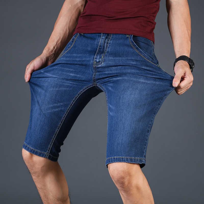 2019 lato nowych mężczyzna biznesu spodenki jeansowe moda Casual Stretch Slim niebieski krótkie dżinsy męskie duży rozmiar 40 42 44 46