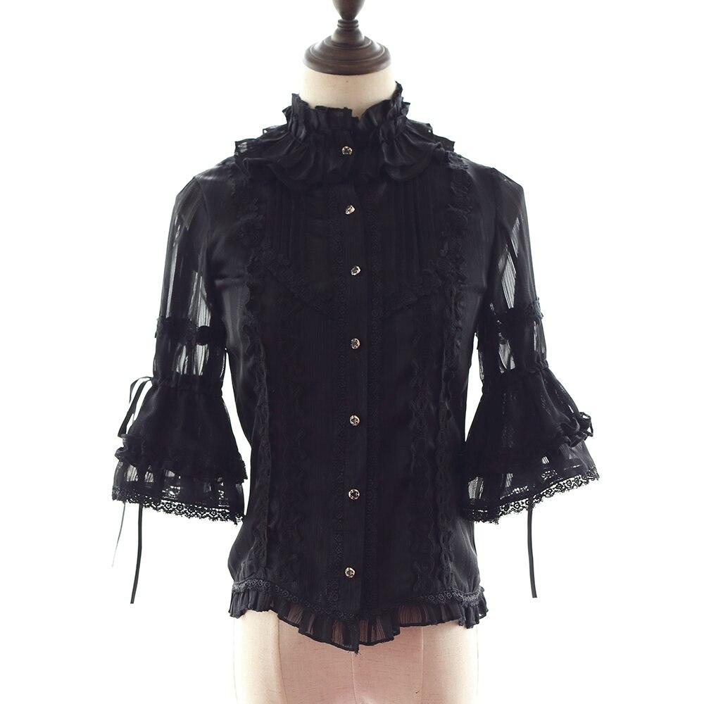 Chemise Lolita noire pour filles classique noir à volants manches courtes Lolita Blouse femmes en mousseline de soie manches mandarines chemise Lolita