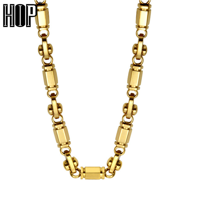 HIP HOP Gold Color Titanium Stainless Steel 60CM Long 6MM Width Handmade Heavy Link Byzantine Chain Necklaces for Men Jewelry