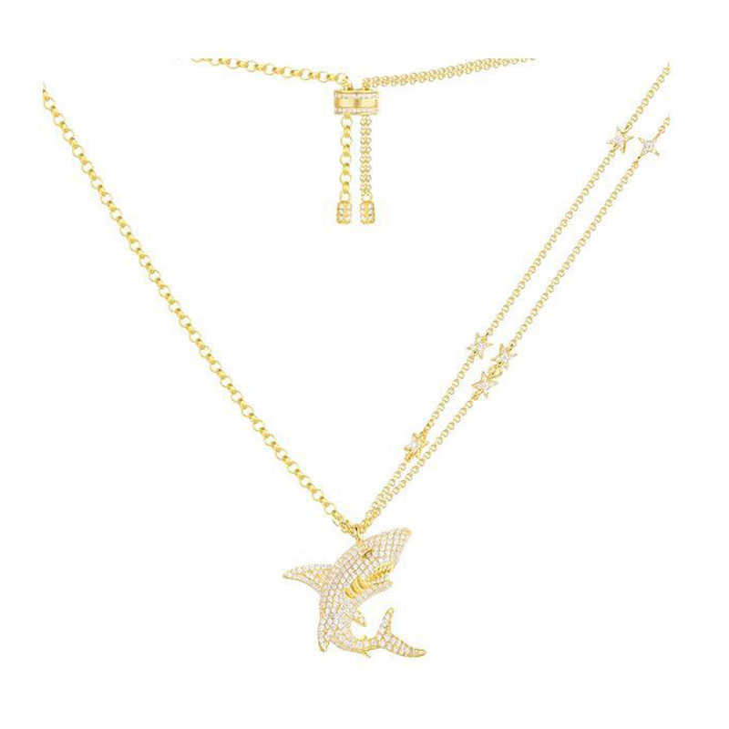100 Real 925 Sterling Silver Gold Color Shark Pendant Necklace Inlaid Cubic Zirconia CZ Star Chain