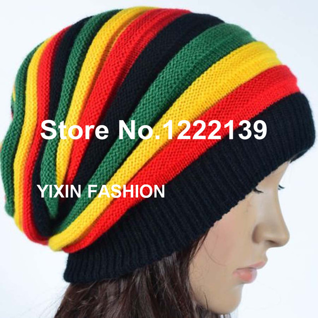 5pcs lot Fashion Bob Marley Jamaica Rasta Gorro Slouch Beanie Hat Winter Knitted  Reggae Multi-colored Stripe Hip Hop Baggy Cap e51ec7a731d7