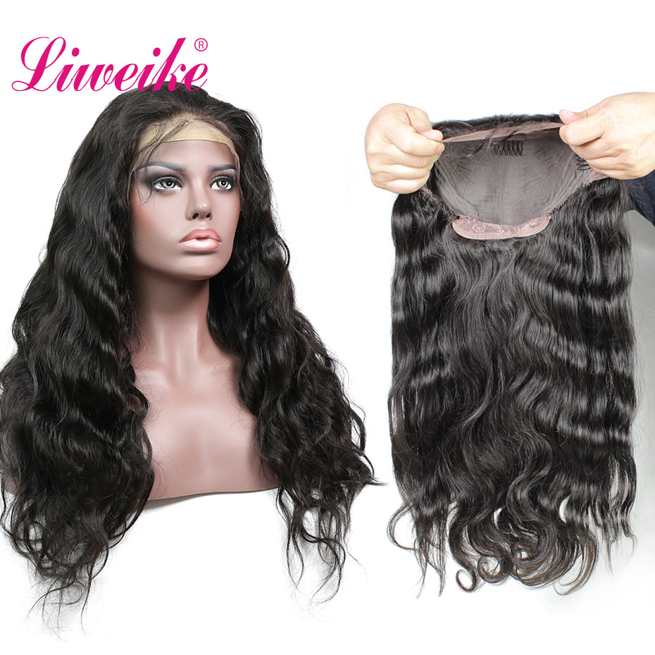 Liweike <font><b>Lace</b></font> Front Body Wave Remy Human Hair <font><b>Wigs</b></font> Brazilian Full Ends <font><b>300</b></font>% <font><b>Density</b></font> <font><b>Wig</b></font> Natural 1B Pre Plucked With Baby Hair image