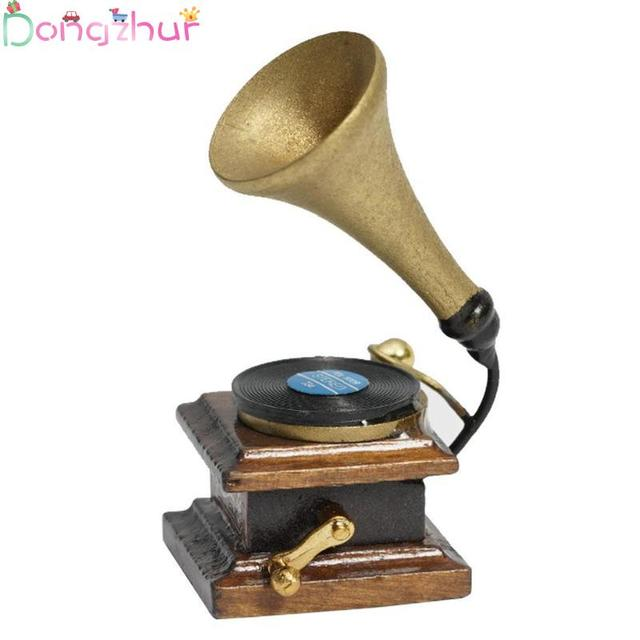 Dollhouse Miniature 1:12 Furniture Mini Phonograph Accessories Retro Gramophone With Record Diy Miniature Doll House