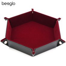 Hexagon Folding Dice tray with Red Velvet for Using Dice Games and Storage Keys Coins Jewelry or Other Small Trinkets(China)