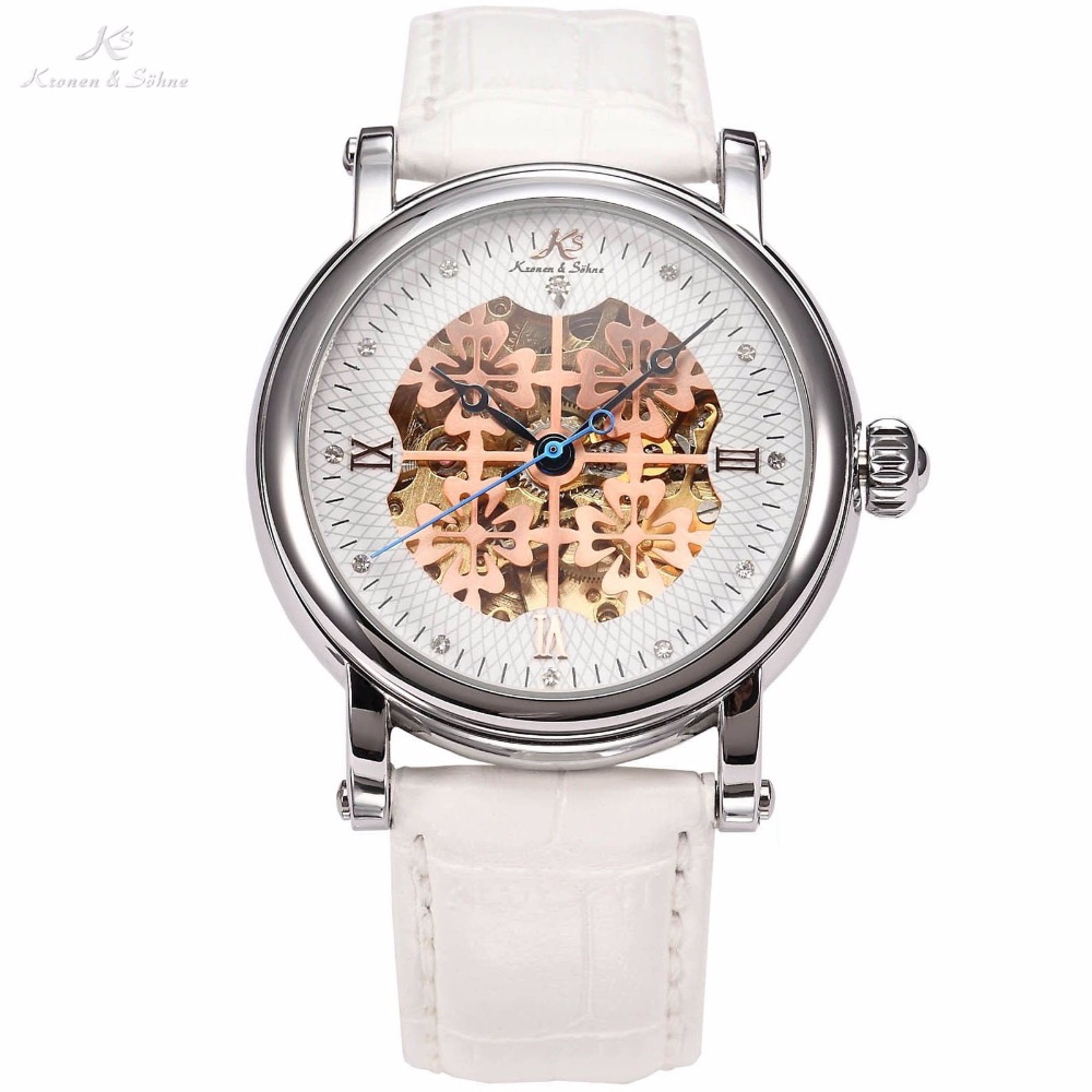 KS Brand Royal Carving Luxury Automatic Mechanical White Steampunk Skeleton Leather Band Self Winding Men Male Wrist Watch/KS116 ultra luxury 2 3 5 modes german motor watch winder white color wooden black pu leater inside automatic watch winder