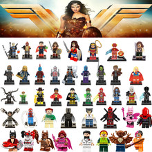 Marvel Supergirl Deadpool Heroes Infinity War Avengers Wonder Woman Wolverine Batman X Man Flash DC Blok Bangunan Mainan Angka(China)