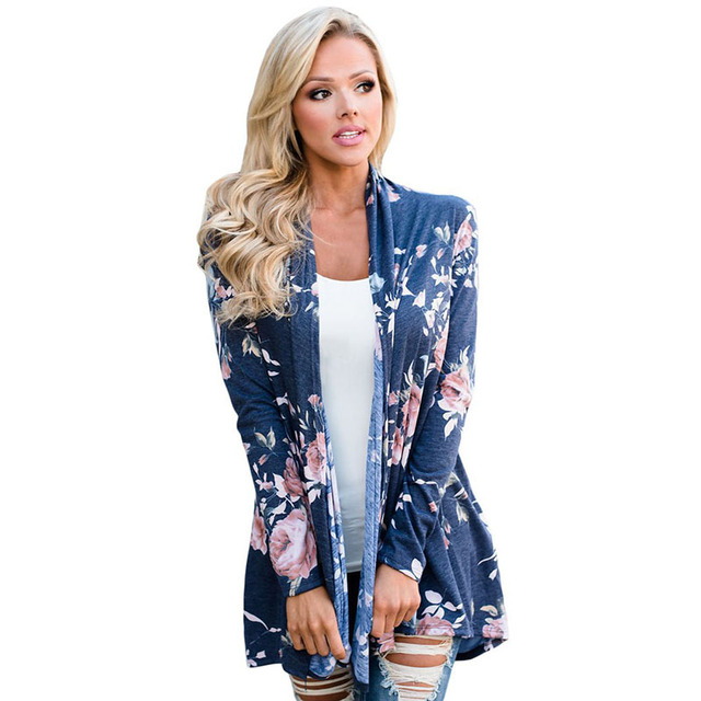2c5a6b11f Plus Size S XL Flower Floral Printed Cardigan Women Sweater with ...