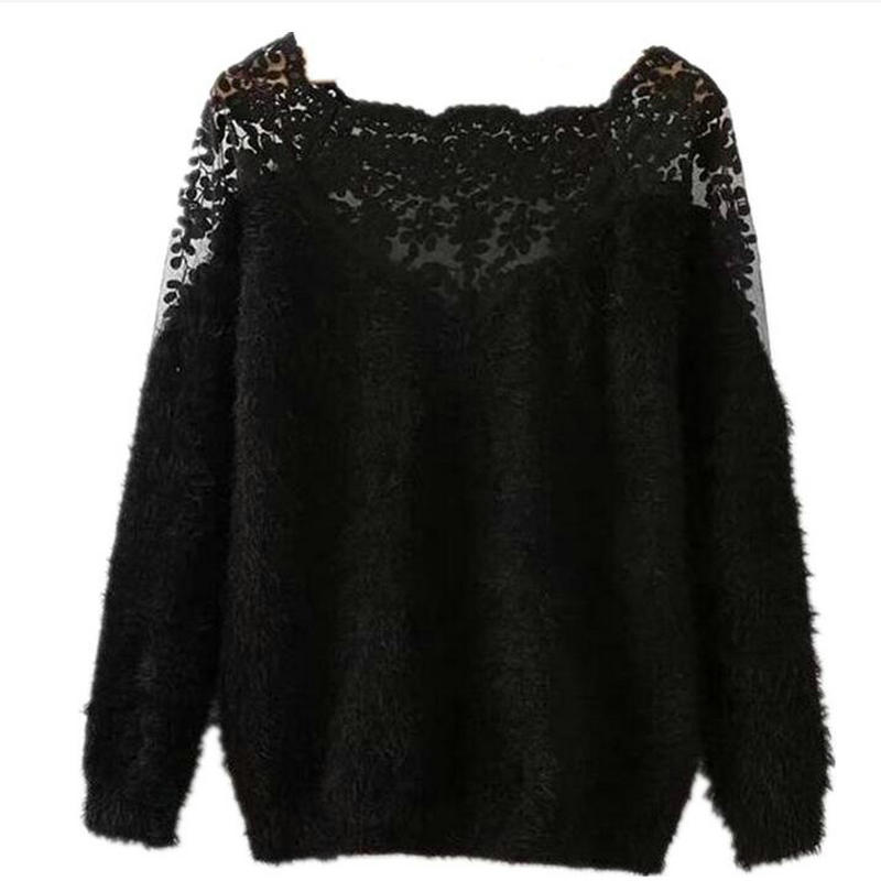 2018 New Fashion Pullover Jersey Embroidery Lace Sexy Hoodie Soft Mohair Carton Knit Long Sleeve Hollow