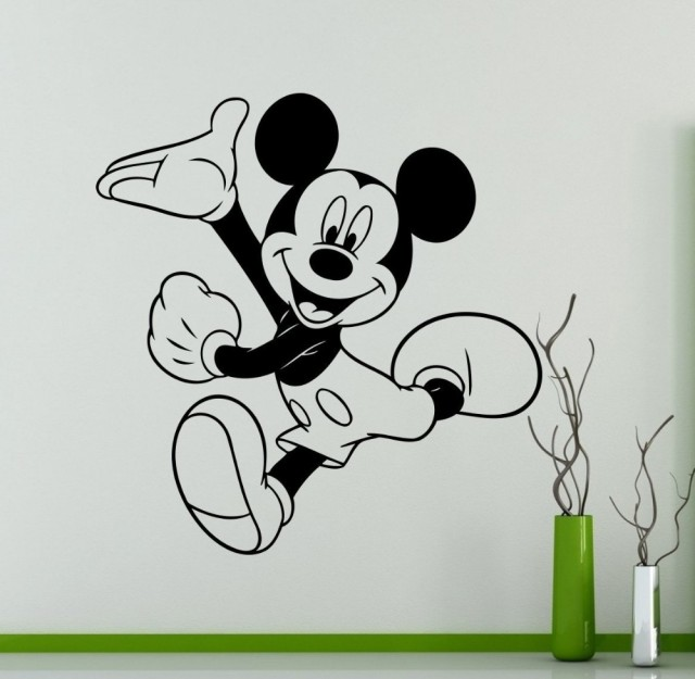 Mickey Mouse Wall Decal Cartoon Vinyl Sticker Wall Art Decor Childrenu0027s  Kids Room Ideas Room Interior