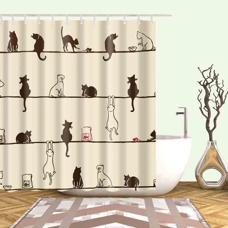 night cute praying cat waterproof shower curtain bathroom curtains high quality bath bathing. Black Bedroom Furniture Sets. Home Design Ideas
