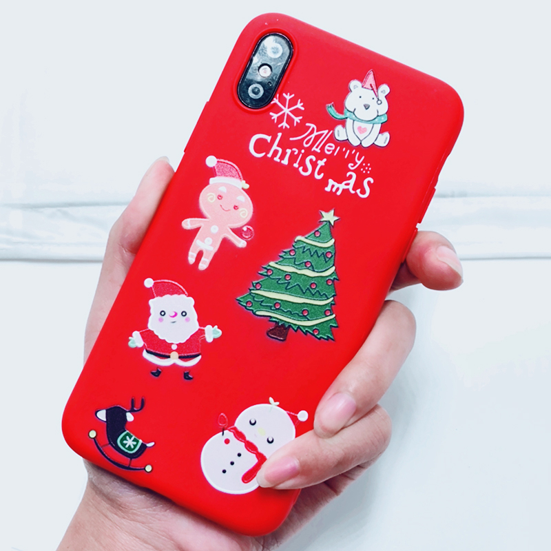 Phone Case For iPhone 7 5 S 5S SE 6 6s 7 8 Plus X XR XS Max Fashion Cute Cartoon Christmas Lovely Santa Claus Elk Soft TPU Cover (3)