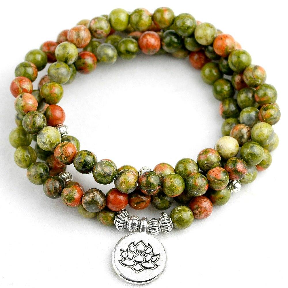 108 Mala Beads Bracelets Natural Stone Chinese Unakite OM Lotus Buddha Charm Bracelets Men Women Yoga Jewelry