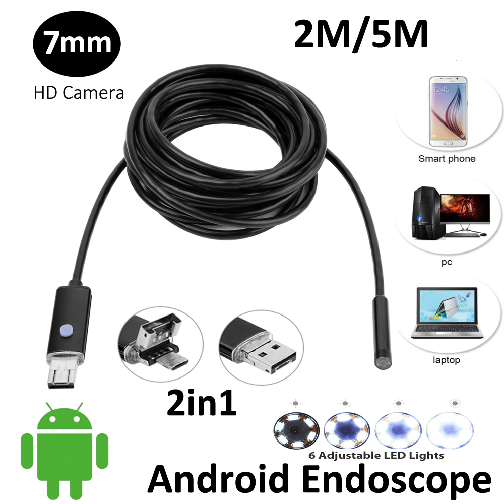 7mm Lens 2In1 Android OTG USB Endoscope Camera 2M 5M 2in1 USB Snake IP67 Waterproof Smart Android PC OTG USB Borescope Camera