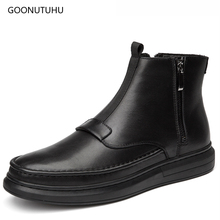 2019 Fashion men's boots casual shoes genuine leather work boot zipper classic black shoe man youth ankle military boots for men цены онлайн