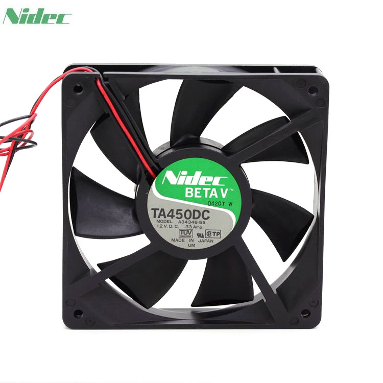 Nidec TA450DC A34346-55 1225 120mm 12*12cm12025 12cm 120*120*25 12VDC 0.33A server inverter cooling fan nidec d12e 12ps2 01b 12038 120mm 12cm dc 12v 1 70a 12 cooling fan server inverter case cooler