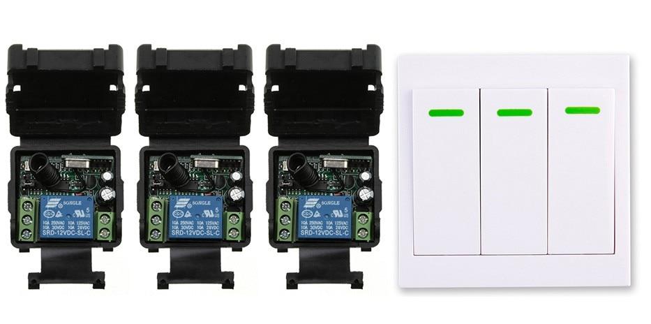 New digital Remote Control Switch DC12V 3* Receiver Wall Transmitter Wireless Power Switch 315MHZ Radio Controlled Switch Relay