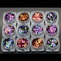 A laser 6 cores 12 Nail Art Glitter RODADA Formas Confetes Lantejoulas Dicas Acrílico Gel UV B Estilo Venda Por 12jar/set