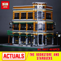 Lepin City Street Creator Bookstore And Starbucks Cafe Assembling Building Blocks Kits Minifigure Blocks Compatible With