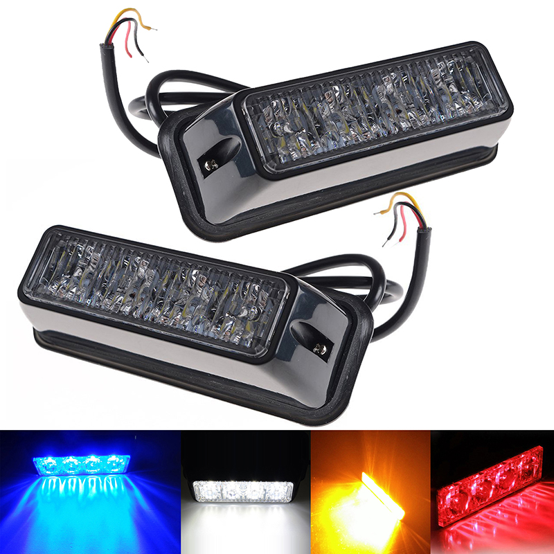 Eonstime 1pcs 4LED Car Emergency Beacon Light Flashing 4W 12V/24V Led Strobe Light Universal Fit Truck RED Blue Amber White 4x 4 led car flash truck emergency beacon light bar hazard strobe warning amber white blue red