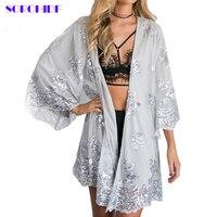 SORCHIDF 2017 New Women Fashion Silver Sequined Lace Kimono Blouses