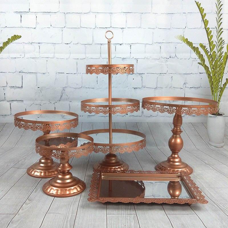 Plateau à gâteaux miroir 5 pièces en set   3 niveaux présentoir à Cupcake, plateau à Dessert aux Fruits pour réception-cadeau pour bébé, fête de mariage et d'anniversaire