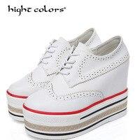 Весна Для женщин вулканизируют подъеме белый черный Женская повседневная обувь женские туфли лодочки платформе высокие женские туфли на в