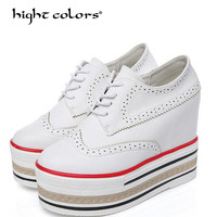 Spring Women's Vulcanize Increased Internal White Black Women Casual Shoes Woman Pumps Platform High Top Female High Heel 11cm