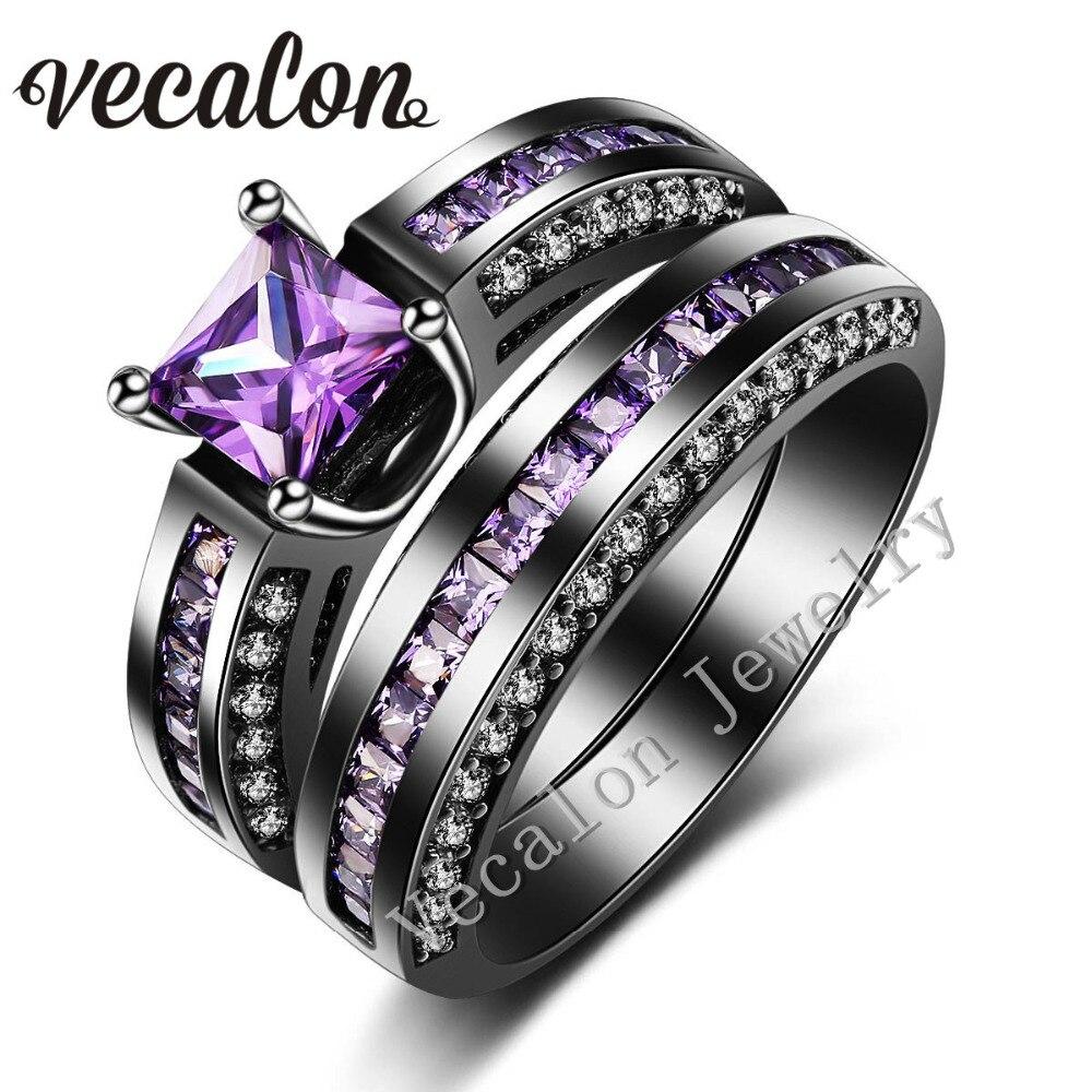 vecalon 2016 new wedding band ring set for women 2ct amethst aaaaa zircon cz 10kt black gold filled female engagement ring - Black Gold Wedding Ring Sets