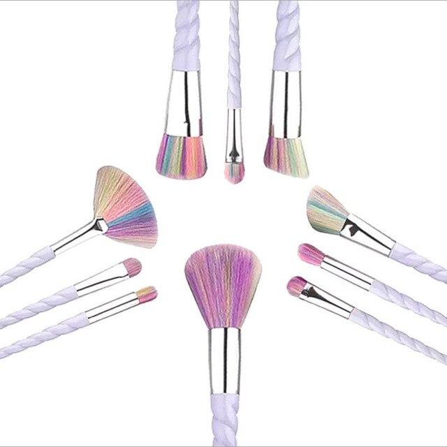 10 Set Professional Makeup Brush Set Thread Handle Colorful Hair  Face & Eye Powder Foundation Eyebrow Make Up Brush Kit Tools 1