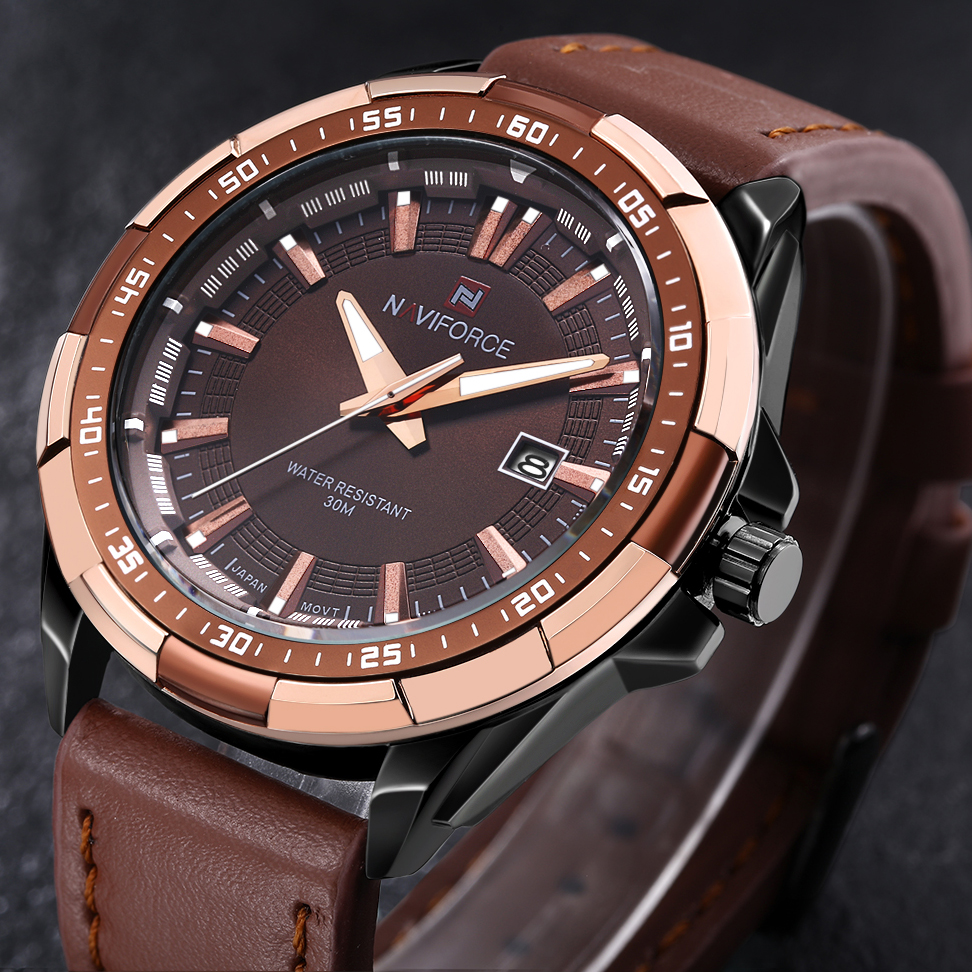 NAVIFORCE Watches Men Sport Men's Quartz Watch Waterproof Gold Leather Big Dial Luxury Brand Wristwatch Mens Relogio Masculino famous brand big dial watch for men quartz big face watches rubber band 52mm rose gold men s wristwatch luxury mens relojios new